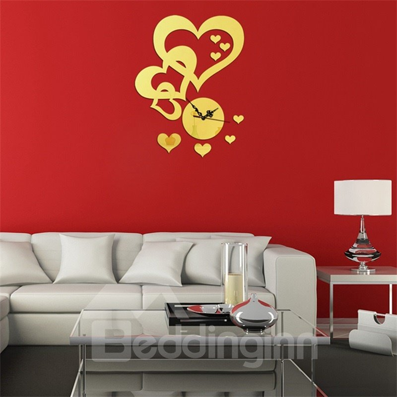 Self-adhesive 3 Color Love Heart Simple Design 3D Acrylic DIY Specular Mute Wall Clock