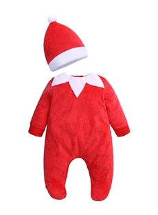 Toddler Boys Girls Pure Color Romper Christmas Costume Jumpsuit+Hat
