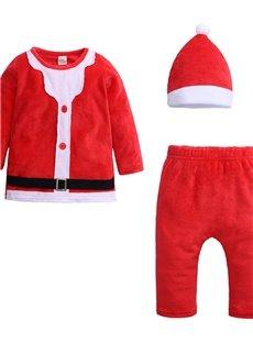 Unisex Baby Leisure Round Neck Long Sleeve+Pants+Hat Christmas Warm Jumpsuit