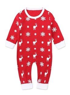 Baby Rompers Bodysuit Newborn Baby Christmas Deer Printing Red Jumpsuit