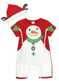 Unisex Baby Short Sleeve Plaid Christmas Snowman Bodysuit