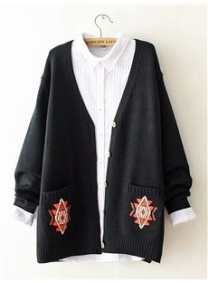 Knit Loose Model Button Cardigan Cotton Korean Style Coat