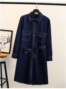 Long Sleeve Midi Pattern Pocket Cotton Belt Plus Size Dress