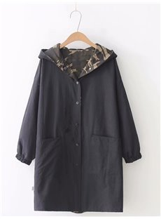 Loose Model All-Match Reversible Camouflage Pocket Dust Coat