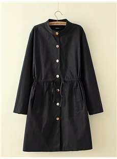Pure Color Loose Model Korean Style Cotton Dust Coat