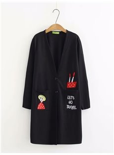 Cartoon Embroidery Midi Pattern Cardigan Korean Style Coat