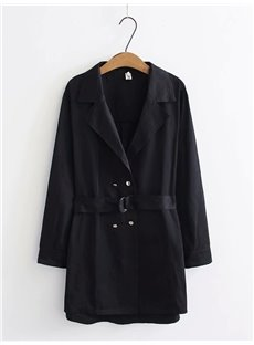 Business Suit Loose Model Lace-Up Pure Color Cotton Coat