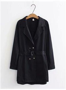 Business Suit Loose Model Lace-Up Pure Color Cotton Coat