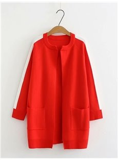 Korean Style Pocket Knit Cardigan Polyester Loose Model Coat