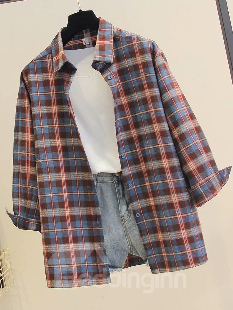 Fall Korean Style Sanding Thicken Plaid Pattern Blouse