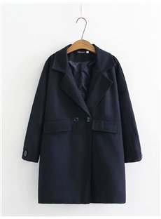 Korean Style Button Pure Color Loose Model Plus Size Coat