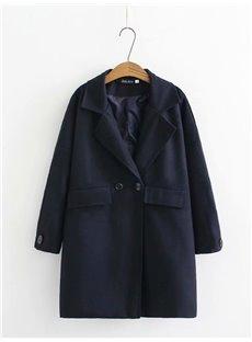 Korean Style Button Pure Color Loose Model Plus Size Coat
