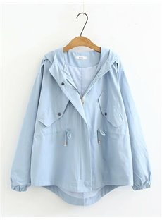 Pure Color Korean Style All-Match Hooded Cotton Dust Coat