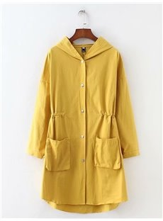 Korean Style Hooded Slim Model All-Match Pure Color Dust Coat