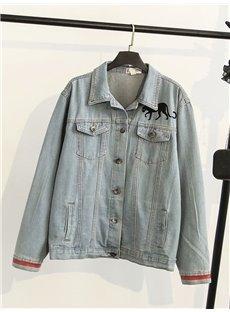 Fall Korean Style Panther Pattern Loose Model Jacket