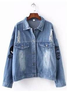 Korean Style Embroidery Fall Letter Cotton Jacket
