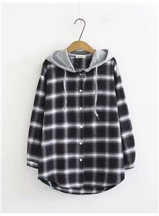 Korean Style Button Long Sleeve Plaid Pattern Hooded Blouse