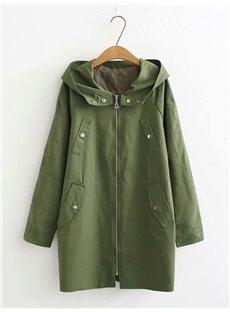 Fall Korean Style Lace-Up Zipper Midi Pattern Coat