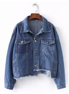 Korean Style Hole Irregular Waist Cotton Button Jacket