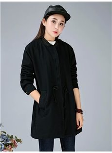 Korean Style Loose Model Cotton Pure Color Coat