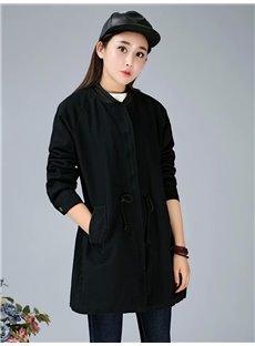 Korean Style Loose Model Cotton Pure Color Coat