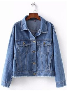Loose Model Embroidery Cotton Button Korean Style Jacket