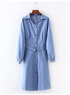 Long Lace-Up Cotton Loose Model Pure Color Dust Coat