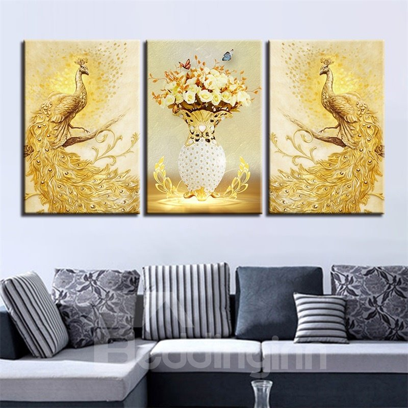 11.8*17.7in*3 Pieces Golden Peacock Hanging Canvas Waterproof And Eco-friendly Wall Prints