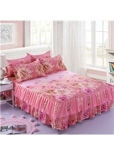 Pink Peonies Blooming Reactive Printing Polyester 3-Piece Bed Skirt