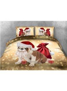 Dog Sticking Beard &Christmas Hat Printing 4-Piece 3D Bedding Sets/Duvet Covers