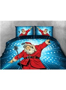 Santa Claus Singing and Blue Stars Printing 4-Piece 3D Bedding Sets/Duvet Covers