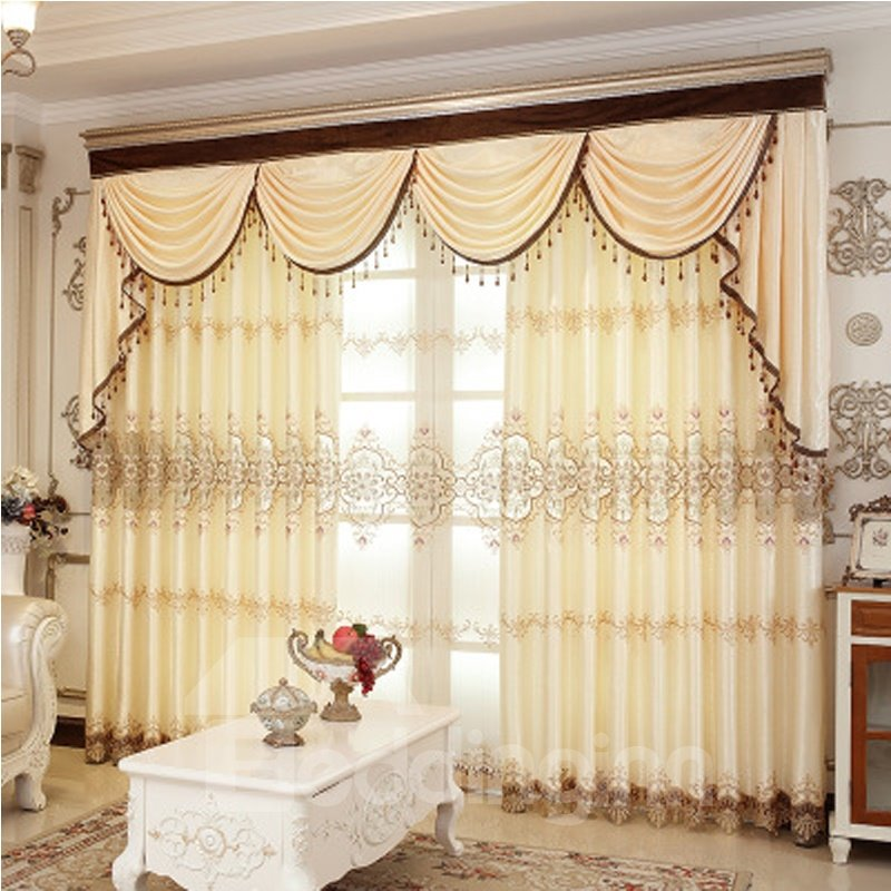 Embroider   Blackout   Curtain   Yellow   Light   Room   Live