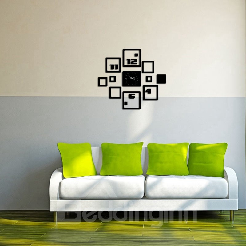 Creative Square And Number Pattern 3 Color Simple Design 3D Acrylic Specular Mute Wall Clock