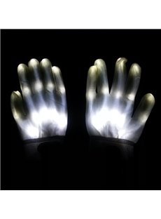 White Luminous Skeleton LED Gloves for Halloween