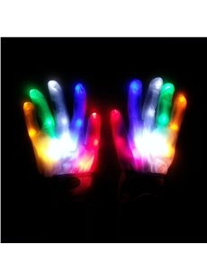 Rainbow Color Magic Luminous LED Glow Gloves for Halloween