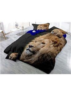 Lion Head Printing Cotton 3D 4-Piece Bedding Sets/Duvet Covers