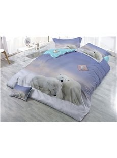 Polar Bears Close Together Printing 3D White Cotton 4-Piece Bedding Sets/Duvet Covers