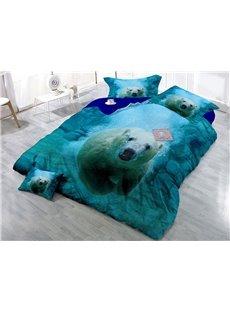 Polar Bear Under Water Blue Printing Cotton 4-Piece Bedding Sets/Duvet Covers