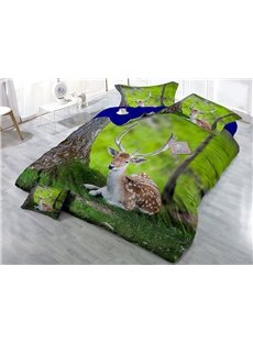 Sika Deer and Green Grass Printing 3D 4-Piece Bedding Sets/Duvet Cover