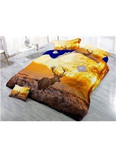 Sika Deer and Sunset Scenery Printing 3D 4-Piece Bedding Sets/Duvet Cover