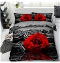 Red Rose and Water Black Printing Cotton 4-Piece 3D Bedding Sets/Duvet Covers