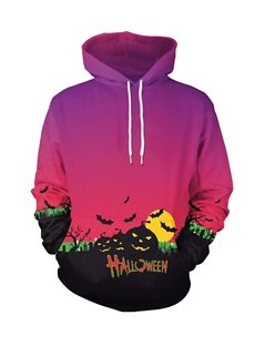 Halloween Pumpkin and Bat Loose Model Red 3D Painted Hoodie