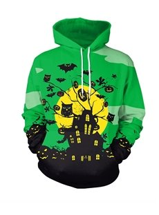 Halloween Owl and Pumpkin Pullover Polyester Green 3D Painted Hoodie