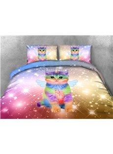 Colorful_Cat_With_Shiny_Wings_3D_Printed_4Piece_Colorfast_Polyester_Bedding_SetsDuvet_Covers