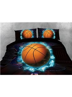 Basketball with Blue Light and Court Printing Cotton 3D 4-Piece Bedding Sets/Duvet Covers