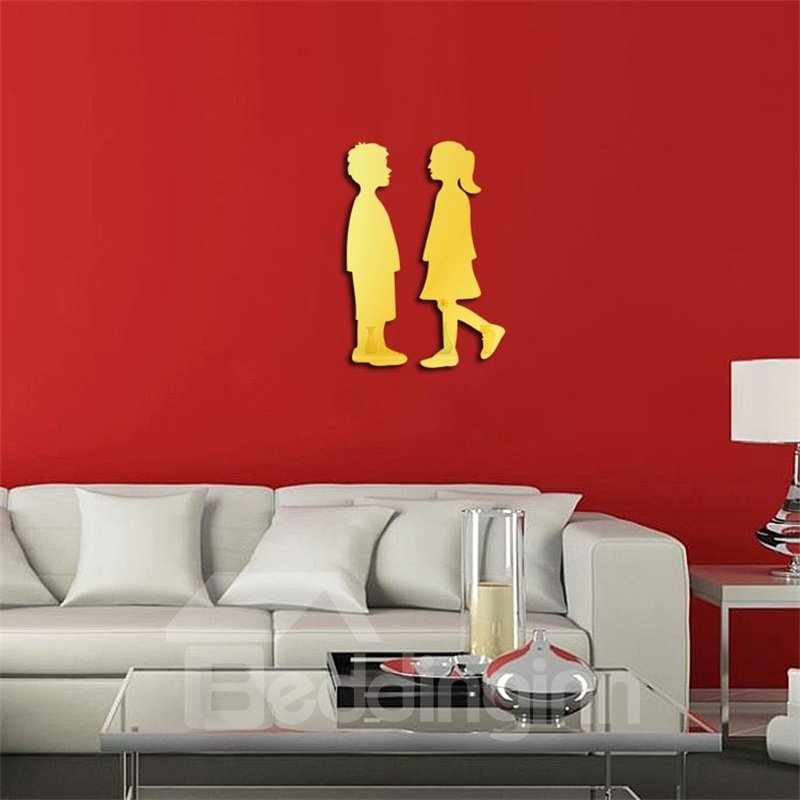 Funny Girl And Boy Pattern 3D Acrylic 3 Color TV And Sofa Background Wall Stickers