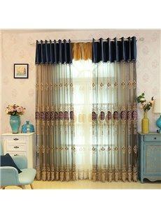 Embroidery Elegant Beige Sheer Curtains Grommet Top For Livin'room