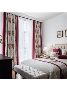 Elegant Classic Fashion Style Large Florals Printed Curtain For Bedroom