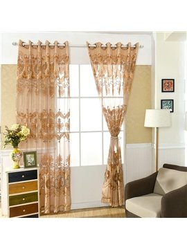 Beautiful Embroidered Floral Print Window Screening Three Colors