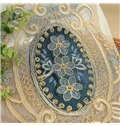European Court Style Noble Blue Embroidered Curtains Grommet Top